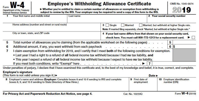 Form W-4 Tax Withholding